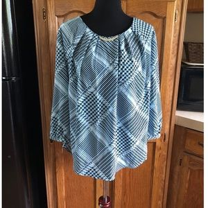 NWT New York & Company Blue Blouse Top XL